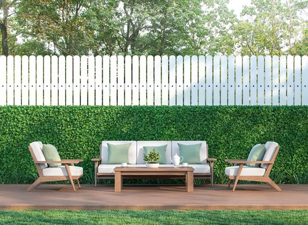 wood fence color white with green grass fence and chairs